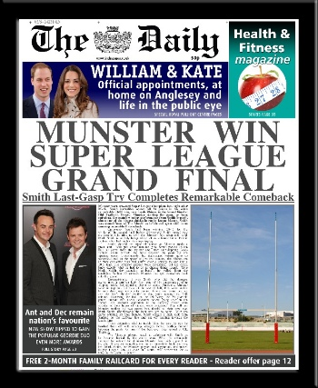 Rugby League personalised newspaper gift
