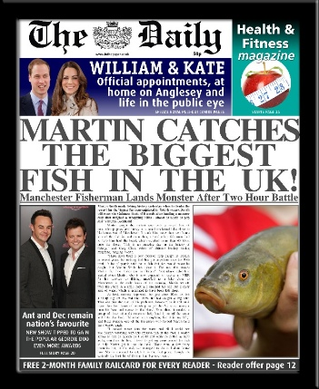 Fishing personalised newspaper gift