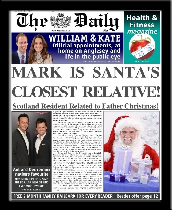 Personalised Santa's Relative Christmas Newspaper | personalised newspaper gift from PhotoFairytales