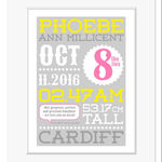 personalised birth print pink yellow