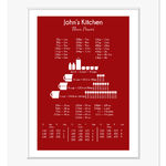 cooking conversion chart personalised print red web