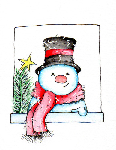 snowman at the window (digi Stamp)