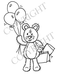 Boo Bear with balloons