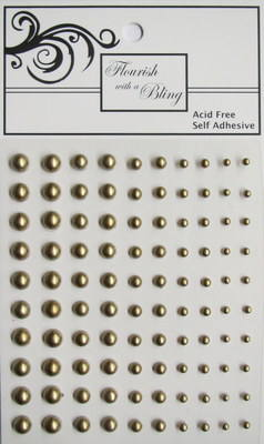 Adhesive Pearls 100 Pack Antique Gold