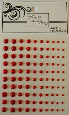 Adhesive Pearls 100 Pack Red