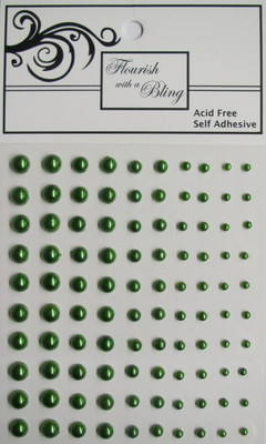 Adhesive Pearls 100 Pack Olive Green