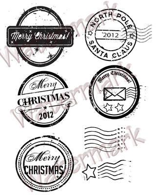 Grunge Chirstmas postmarks