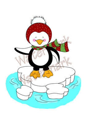 Christmas Penguin - pre coloured digital stamps