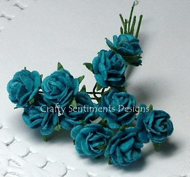BLUE OPEN ROSES 10 mm (Pack of 10)