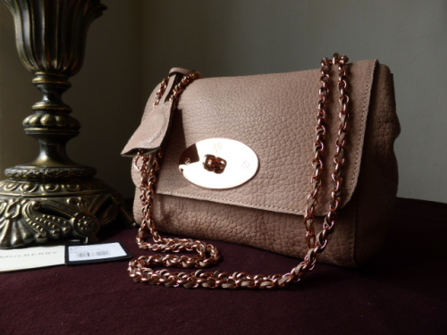 Mulberry Lily Regular in Powder Beige Maxi Grain with Rose Gold Hardware