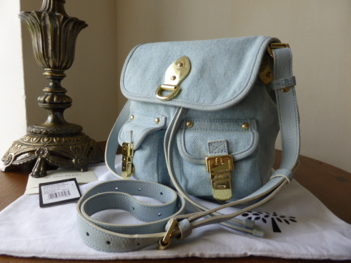 Mulberry Tillie Small Drawstring Messenger in Pale Blue Washed Denim