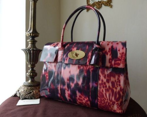 Mulberry Bayswater in Plum Loopy Leopard Patent Leather
