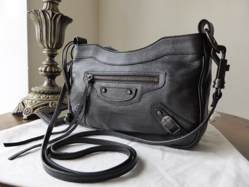 7b4c4c89cd Balenciaga Arena Classic Hip Black Embossed Lizard Messenger - As New