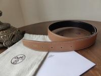 Hermés 32mm Reverse Leather Belt 70cm Gold Epsom with Black Chamonix