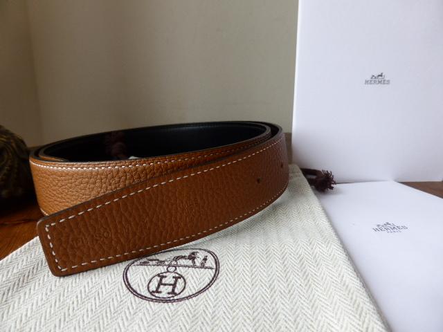 Hermés 32mm Reverse Leather Belt 80cm Gold Clemence with Black Box