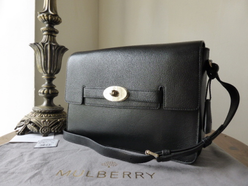 Mulberry Bayswater Shoulder (Larger Sized) in Black Shiny Goat - New