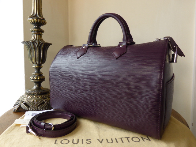 Louis Vuitton Speedy 30 with Strap in Epi Cassis