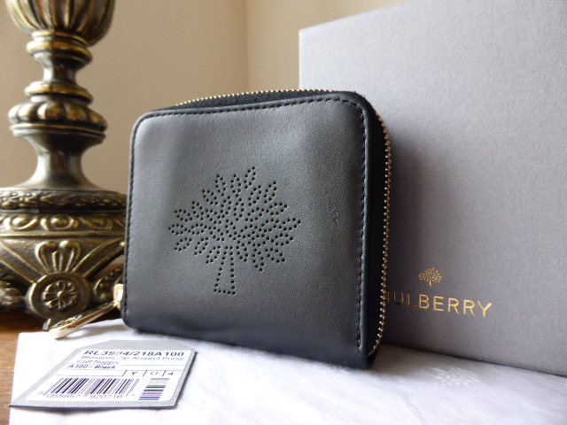Mulberry Blossom Zip Around Purse in Black Calf Nappa
