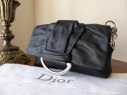Dior Demi Lune Clutch in Black Calfskin with Silver Dior Charms