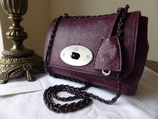 Mulberry Lily (Regular) in English Plum Snake Embossed Leather