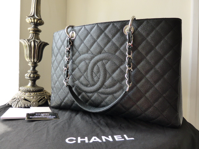 Chanel Grand Shopping Tote XL in Black Caviar with Silver Hardware