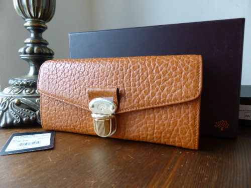 Mulberry Polly Push Lock Continental Wallet in Pumpkin Shiny Grain Leather