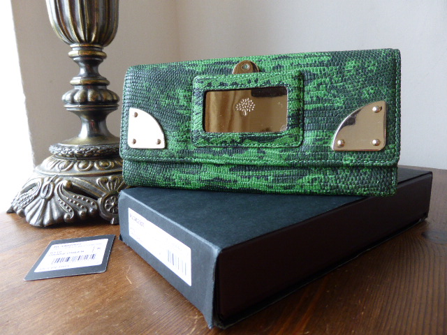 Mulberry Travel Day Continental Wallet in Grass Green Lizard Print Leather