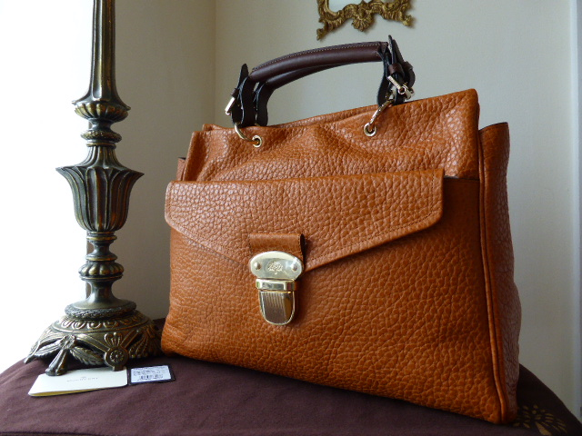 Mulberry Polly Push Lock Tote in Pumpkin Shiny Grain Leather - New*