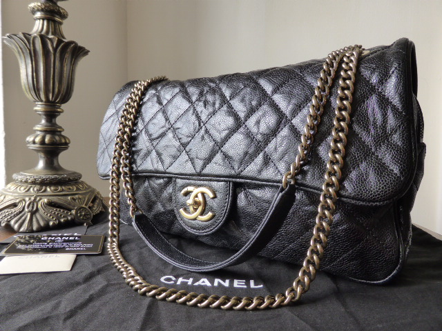 2d16e392e8fe36 Chanel Large Shiva Flap in Black Glazed Calfskin Caviar - SOLD