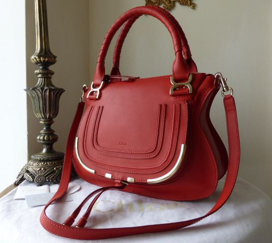 Chloe Marcie Medium Shoulder Satchel in Cherry Jelly Calfskin Leather