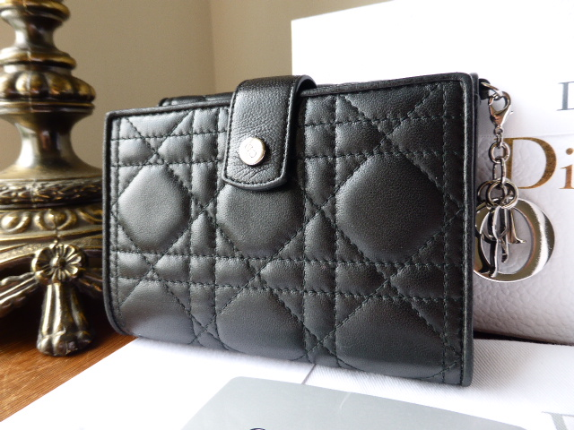 Dior Charms Bifold Purse in Black Cannage Lambs Leather