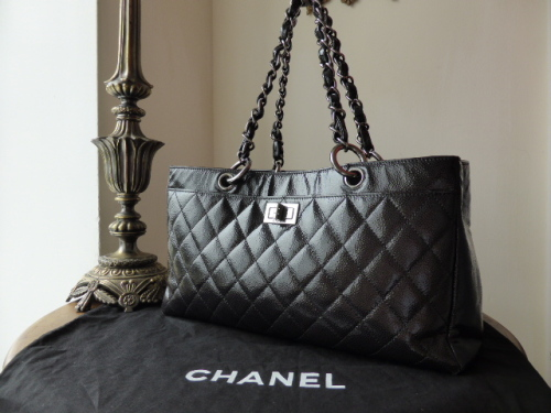 Chanel East West Tote with Mademoiselle Lock in Black Glazed Caviar