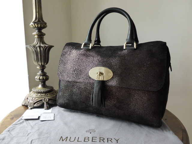 Mulberry Del Rey in Bark Brown Metallic Calf Fur Print Mix Leather