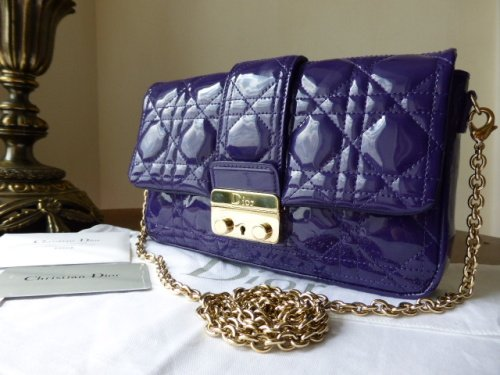 Dior Miss Dior New Lock Promenade Pouch in Violet Patent (Large)