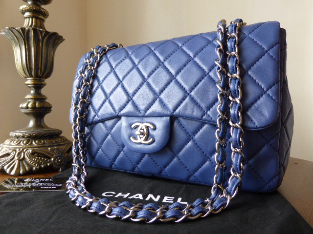 Chanel Jumbo Flap Bag in Blue Lambskin with Shiny Silver Hardware