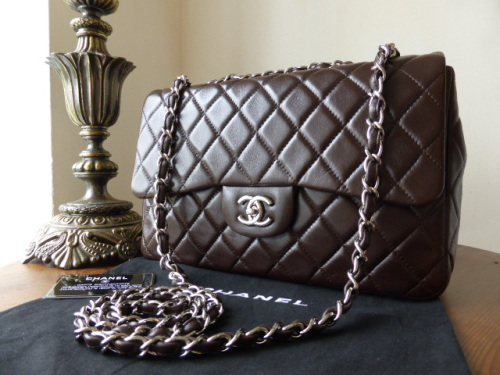 Chanel Jumbo Flap Bag in Chocolate Lambskin with Shiny Silver Hardware