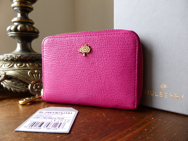 Mulberry Tree Zip Around Compact Purse in Mulberry Pink Glossy Goat Leather