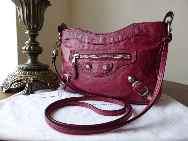 Balenciaga Giant Hip Messenger or Shoulder Bag in Poupre Red with Silver Ni