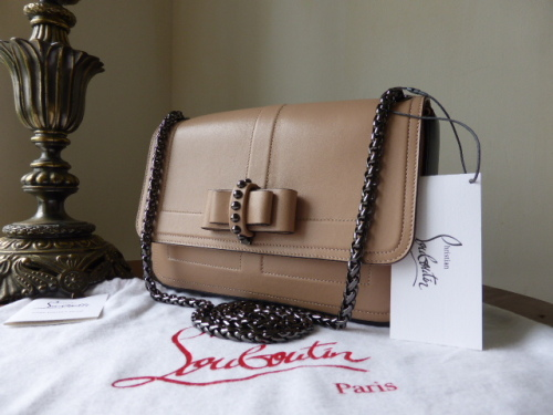 Christian Louboutin Sweet Charity Small Calf Leather Shoulder Bag in Nude -