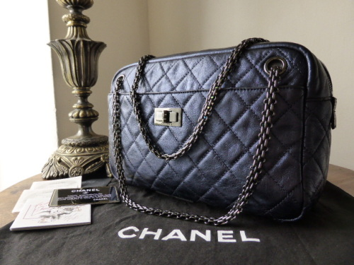 Chanel Reissue Camera Bag in Metallic Blue with Irridescent Dark Silver Nic