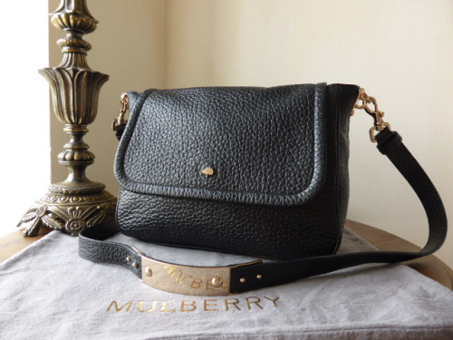 Mulberry Evelina Satchel in Black Large Shiny Grain Leather