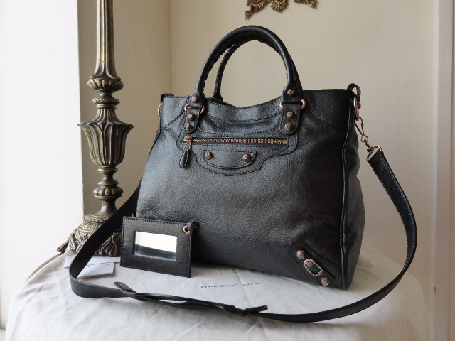 Balenciaga Velo in Black Lambskin with Rose Gold Hardware - As New*