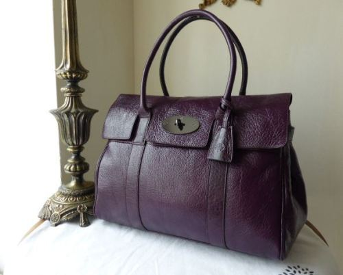 Mulberry Bayswater in Red Onion Pebbled Patent Leather