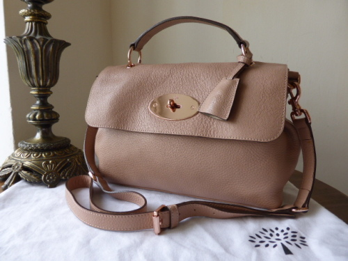 Mulberry Edie / Postmans Lock Satchel in Powder Beige Pebbled Leather with