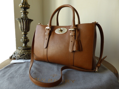 Mulberry Small Bayswater Double Zip Tote in Oak Natural Leather