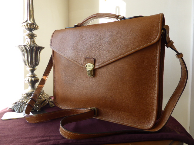 Mulberry Parker Briefcase in Oak Natural Leather
