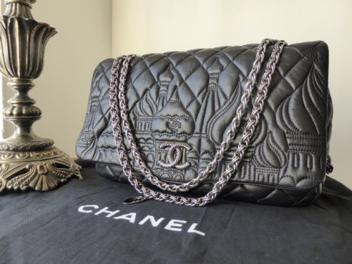 Chanel Paris / Moscou Moscow Jumbo Flap in Black Lambskin
