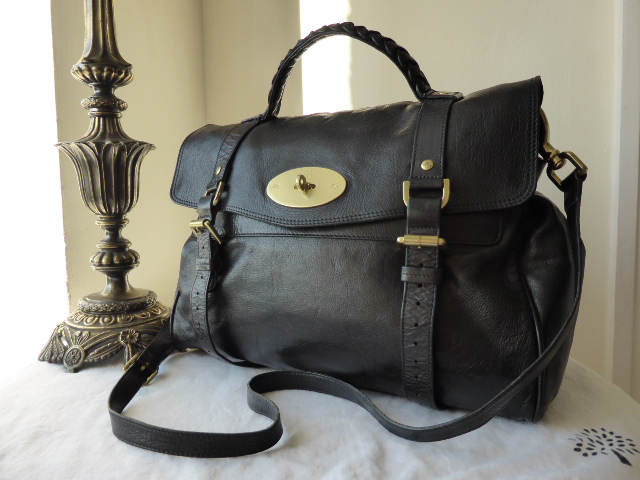 Mulberry Oversizsed Alexa in Black Soft Buffalo Leather
