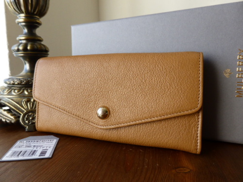 Mulberry Dome Rivet Continental Purse in Deer Brown Glossy Goat - New