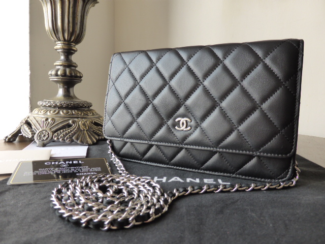 Chanel WOC Wallet on Chain in Black Lambskin with Silver Hardware